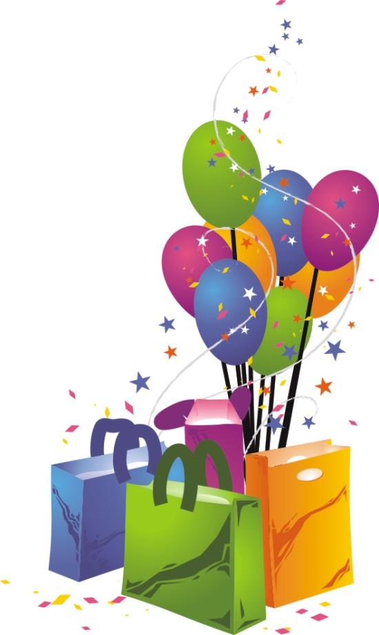 festejo globos paquetes regalos