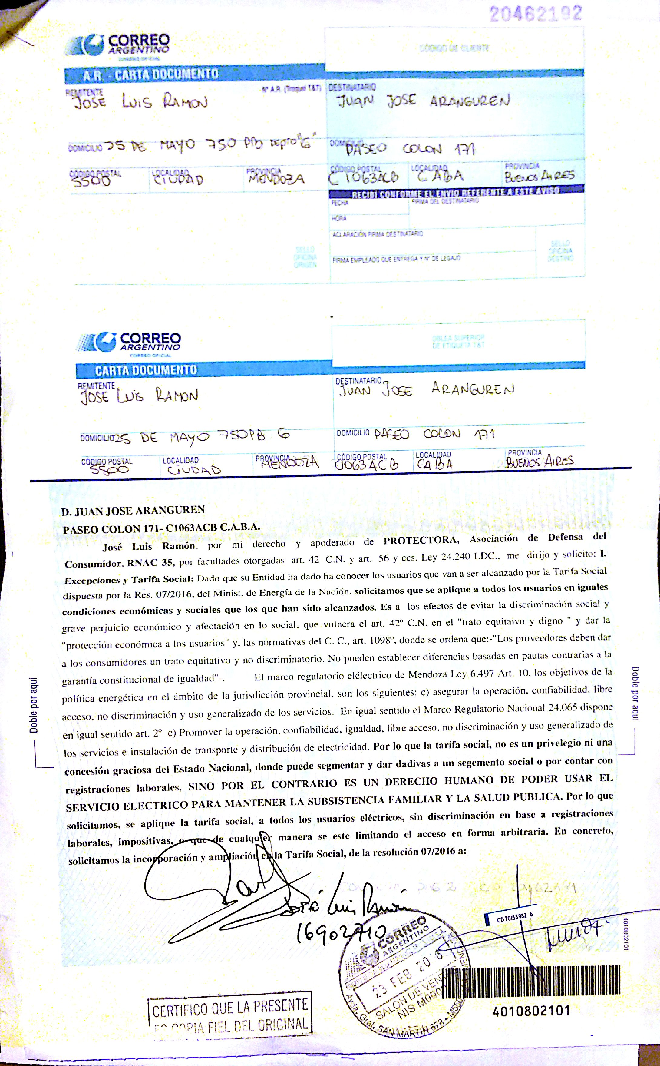 Carta Documento Arenguren Defensa Del Consumidor Protectora